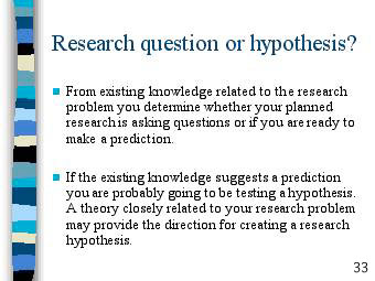 what is a hypothesis question A research question would set boundaries for the area to be explored and the answers that your research need to answer and hypothesis is a scientific way in which you assume an answer to the research question or its sub-components and then test if your assumption was correct.